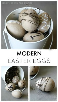 Modern Easter Eggs- paper mache eggs decorated with sharpies, chalk pens and wire via designdininganddiapers.com