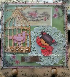 """Kiyomi - """"Hey There"""" Altered wooden frame *** Sister Stamps and Japanese Washi Paper available at www.HankoDesigns.com ***"""