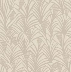 Charlotte's Fan Chalk (TCW1006-01) - Tapet-Cafe Wallpapers - Fusing exotic glamour with the classic Art Deco style Charlotte's fan is a true design triumph.  A detailed lattice design with metallic accents, this new interpretation, taken from the archives of Charlotte Martensen-Larsen who founded Tapet-Cafe, will bring glamour to any room of the house. Shown here in metallic chalk and stone.
