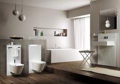 WC e bidet: Modulo Monolith Plus per WC da Geberit Geberit Monolith, Italian Tiles, Residential Interior Design, Simply Beautiful, Bathtub, Maltese, Bathrooms, Contrast, Studio