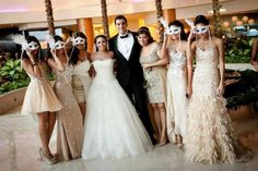 .Wedding Ball Masks-- maybe with the maid of honor in a mask and all the brides maids in the same dress.
