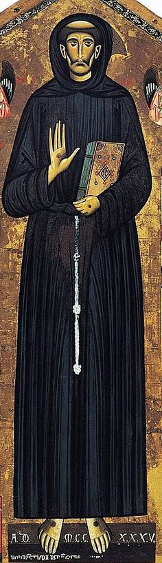 St. Francis of  Assisi detail tempera on wood painted in 1235 by  Bonaventura Berlingieri, an Italian Painter of the Gothic Period in Italy.