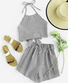 Shop Halter Neck Striped Bow Open Back And Shorts Set online. SheIn offers Halter Neck Striped Bow Open Back And Shorts Set & more to fit your fashionable needs. Fashion Clothes, Fashion Outfits, Womens Fashion, Cheap Fashion, Fashion Ideas, Fashion Fashion, Trendy Clothing, Fashion Black, Vintage Fashion