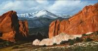 Pikes Peak and Garden of the Gods. Painting by Dullinger, 1997.