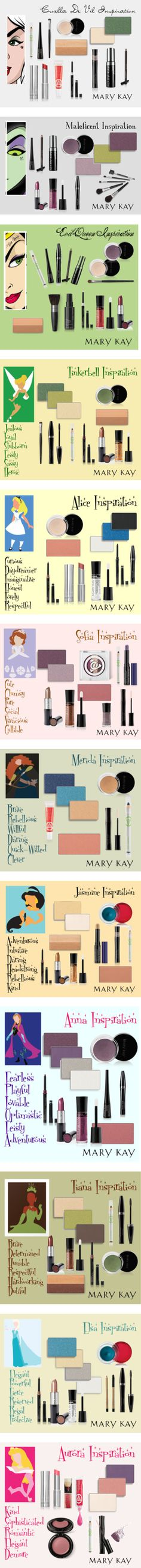 Disney Princess Inspired Beauty Looks by natalie-edmondson on Polyvore featuring beauty, Disney, Mary Kay, disney, Marykay, villains, maleficent, evilqueen, tinkerbell and Disneyprincess