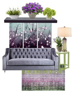 """Lavender & Green"" by rehtaeh69 ❤ liked on Polyvore featuring interior, interiors, interior design, home, home decor, interior decorating, Designers Guild, Trademark Fine Art, WALL and Currey & Company"