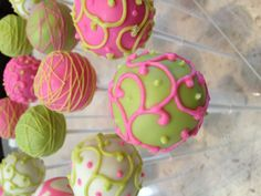 Hot pink and bright green cake pops