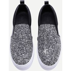 Black and Silver Glitter Sequin Rubber Sole Slip-on Sneakers (69 BAM) ❤ liked on Polyvore featuring shoes, sneakers, shein, slip on shoes, rubber sole shoes, black and silver shoes, slip on trainers and pull on shoes
