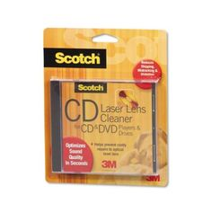 """Scotch Laser Lens Cleaner for CD and DVD Players/CD-ROM and DVD-ROM Drives - - Scotch Laser Lens Cleaner: Removes dust and debris from the laser lens to optimize sound and video quality. Features """"O Dvd Vcr, Television Tv, Video Library, Scotch, Lens, Dvd Players, Professional Cleaning, Distortion, Amazon"""