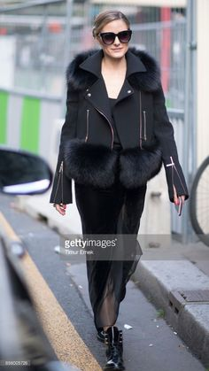 Olivia Palermo seen wearing a denim pants in the streets of Paris during the Paris Fashion Week on September 30, 2017 in Paris, France.