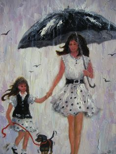 Rain Girls Original Oil Painting mother and by VickieWadeFineArt