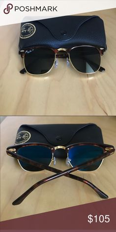 Ray-Ban clubmaster tortoise sunglasses Excellent condition. Barely worn. Ships asap. Comes with case 💜 Ray-Ban Accessories Sunglasses