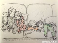 The squad have a slumber party! (by Lilkpopean) (Miraculous Ladybug, Adrien, Marinette, Alya, Nino, cute, kids)