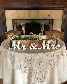 Mr and Mrs wedding signs table decoration. Rustic wedding centerpieces wedding reception. Wedding present, wedding aragement, engagement