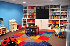 Fascinating Kids Playroom Ideas Showcasing Large White Finish Wall Shelves Be Equipped Toy Storage Bins Also Wooden Table Chairs Set Above Multicolored Carpet Floors, Awesome Charmingly Storage Shelving For Children Room: Furniture, Interior, Kids Room