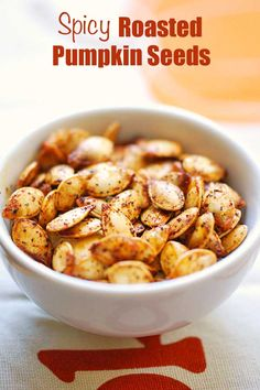Pumpkin Seeds Deliciously spicy roasted pumpkin seeds are seasoned with olive oil, chili powder, garlic and cayenne. They make a wonderfully healthy keto snack! Spicy Pumpkin Seeds Recipe, Pumpkin Seed Recipes Baked, Seasoned Pumpkin Seeds, Best Pumpkin Seed Recipe, Savory Pumpkin Seeds, Homemade Pumpkin Seeds, Toasted Pumpkin Seeds, Roast Pumpkin, Vegan Pumpkin