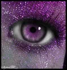 purple eye..... I know someone who wore purple contact lenses for a while