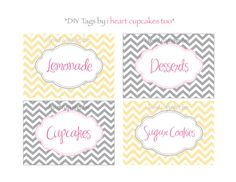 Yellow and Gray Chevron Place Cards / Fancy by iheartcupcakestoo, $5.00