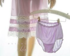 Seductive sexy 'Eminett' vintage sheer soft lilac nylon and sexy white floral lace side panels full bum panties bubble knickers . Vintage Underwear, Vintage Lingerie, Pretty Lingerie, Beautiful Lingerie, Lingerie Outfits, Women Lingerie, Nylons, Popular Handbags, Lingerie Drawer