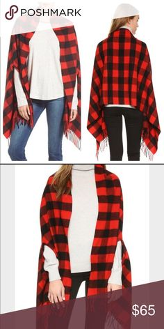 Madewell Buffalo Check Cape Scarf So cozy and chic! Madewell Sweaters Shrugs & Ponchos