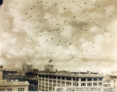 """the """"most aircraft in flight in one photo"""" challenge  """"Flight by Rockwell Field aviators over San Diego, celebrating Peace - Nov 27, 1918""""   (via the SDASM Archives on Flickr)  117 aircraft! The Flickr set contains a great selection of other numerous formation photographs - including this one, which seems to be a manipulated version of the picture above (?)"""