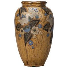 Boch Blue and Mustard Art Deco Vase Designed by Charles Catteau | From a unique collection of antique and modern vases and vessels at https://www.1stdibs.com/furniture/decorative-objects/vases-vessels/