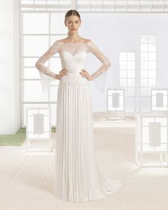 """""""Wania"""" Dress with Illusion Sleeves by Rosa Clará 