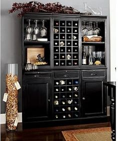 Wine Bar Wall Unit 2 Cabinets 1 Grid Base Open Hutches