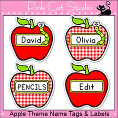 These fun apple name tags and labels will look fantastic in your classroom! This set is so versatile because you can make any labels that you want with the included blank labels and editable Powerpoint file. These would make great cubby, bin or basket labels, job cards, flash cards and of course name tags. By Pink Cat Studio