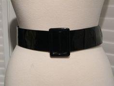 Vintage Black Patent Adjustable Waist Belt Size 12 by GoodBuyForNow on Etsy