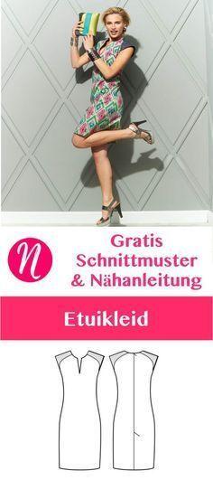 Gratis Schnittmuster für ein pfiffiges Etuikleid in Gr. 36 - 46. Toll für den Sommer. Mit Nähanleitung ❤️ Nähtalente - Magazin für kostenlose Schnittmuster ❤️