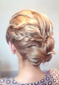 Bridal wedding hair bride upstlye bun braid updo side blonde curly messy