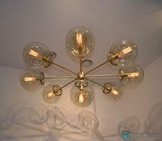 MID CENTURY MODERN ATOMIC SPUTNIK BRASS CHANDELIER LIGHT FITTING 9 ARMS GLOBES   Home & Garden, Lamps, Lighting & Ceiling Fans, Chandeliers & Ceiling Fixtures   eBay!