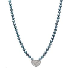Pearl Lustre Black Akoya Pearl & Diamond Mosaic Necklace with Sterling Silver Clasp