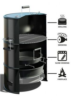 A multi-functional BBQ barrel that combines a charcoal grill, a smoker, a slow cooker, and a fire pit all-in-one. Barrel Bbq, Barrel Smoker, Steel Barrel, Outdoor Smoker, Outdoor Oven, Charcoal Grill Smoker, Charcoal Bbq Grill, Ugly Drum Smoker, Barbecue Smoker
