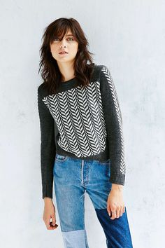 Silence + Noise Placed Herringbone Pullover Sweater