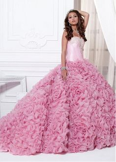 bequinceanera.com SUPPLIES Alluring Beadding Ruffles  Sweetheart Neckline Floor-length Ball Gown Quinceanera Dress Pink Quinceanera Dresses