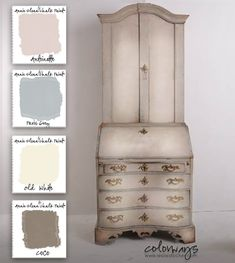 COLORWAYS  Inspiration from Pinterest. For a similar look use Annie Sloan Chalk Paint® Antoinette, Paris Grey, Old White, and Coco