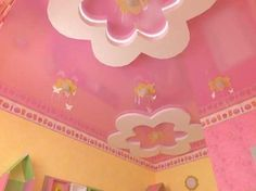 22 Modern Kids Room Decorating Ideas that Add Flair to Ceiling Designs Latest False Ceiling Designs, Bedroom False Ceiling Design, Bedroom Bed Design, Bedroom Ceiling, Girls Bedroom, Cute Bedroom Decor, Teen Room Decor, House Wall Design, Hello Kitty Rooms