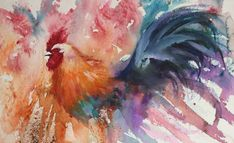 """Rooster """"When Feathers Fly"""" The Magic of Watercolour Painting Virtual Gallery - Jean Haines, Artist - Cockerels"""