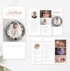 Newborn Trifold Brochure Flyer - Photography Guide - Sell Sheet - Studio Welcome Flyer - By Stephanie Design Photography Brochure, Photography Marketing, Quotes About Photography, Photography Guide, Photoshop Photography, Photography Pricing, Photography Backdrops, Photography Business, Editorial Photography
