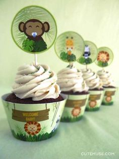Cupcakes at a jungle baby shower party! See more party planning ideas at CatchMyParty.com!