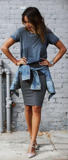 EXPRESS mini skirt - ARITZIA Talula Edo denim jacket - VALENTINO rockstud ballerina shoes / Sincerely Jules