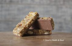 Energy bars topped with Belgian chocolate. A Healthy Treat indeed!