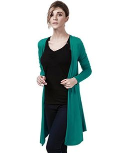 ElbonBoutique Womens Long Sleeve Classic Open Front Cardigan , Teal , Medium. Dry Clean Or Hand Wash Cold / Hang Or Flat Dry. Womens draped long sleeve cardigan / Open front knit cardigan sweater. Lightweight soft fabric with stretch for comfort / Basic and stylish outfit. Please check the size info to ensure your order. Color Disclaimer : Due to monitor settings, monitor pixel definitions, we cannot guarantee that the color you see on your screen as an exact color of the product. We strive…