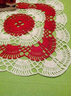 Christmas crochet doily 11 inches Square doilies-Home decor-White crochet doilies -new year—red doily-christmas gift Baby Sweater Patterns, Crotchet Patterns, Doily Patterns, Crochet Blanket Patterns, Crochet Wall Art, Crochet Home, Crochet Gifts, Crochet Doilies, Christmas Coasters