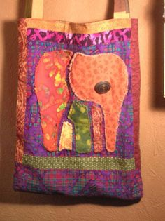 An artsy ethnic Elephant tote bag new and upcycled by treehugging, $30.00