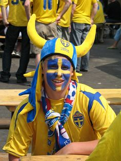 Sweden fan before Paraguay game in Berlin