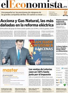 Los Titulares y Portadas de Noticias Destacadas Españolas del 16 de Julio de 2013 del Diario elEconomista ¿Que le pareció esta Portada de este Diario Español?