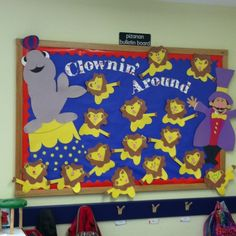 My circus bulletin board-- school is great and Im not lion Circus Bulletin Boards, Birthday Bulletin Boards, Preschool Bulletin Boards, Preschool Classroom, Preschool Crafts, Kid Crafts, Preschool Circus, Circus Activities, Circus Crafts